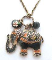 Enamel Elephant And Heart Adjustable length Necklace.
